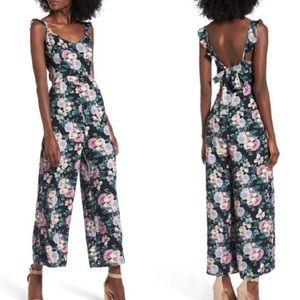 Leith Floral Open Tie Back Jumpsuit